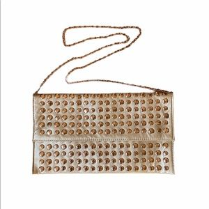 Gold with Gold Studs Lined, Chain Purse Handbag